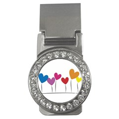 Heart flowers Money Clip (CZ)