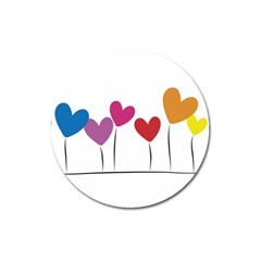 Heart flowers Magnet 3  (Round)