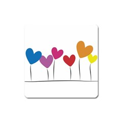 Heart Flowers Magnet (square)