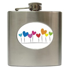 Heart Flowers Hip Flask