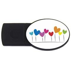 Heart flowers 2GB USB Flash Drive (Oval)