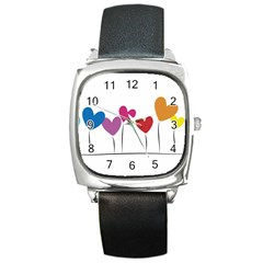 Heart flowers Square Leather Watch