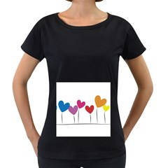 Heart Flowers Womens' Maternity T Shirt (black)