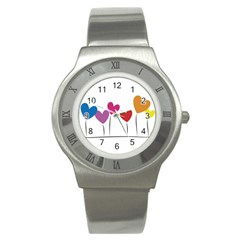 Heart Flowers Stainless Steel Watch (unisex)
