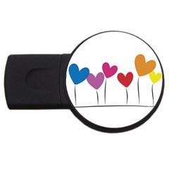 Heart Flowers 4gb Usb Flash Drive (round)