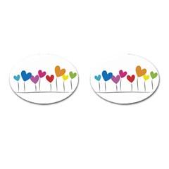 Heart flowers Cufflinks (Oval)