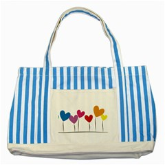Heart Flowers Blue Striped Tote Bag