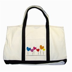 Heart Flowers Two Toned Tote Bag