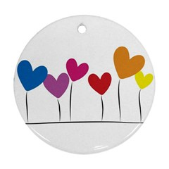Heart Flowers Round Ornament (two Sides)