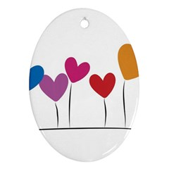 Heart flowers Oval Ornament (Two Sides)