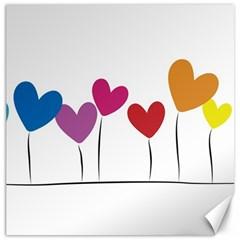 Heart flowers Canvas 16  x 16  (Unframed)