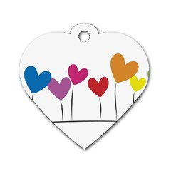 Heart Flowers Dog Tag Heart (two Sided)
