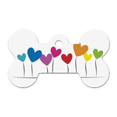 Heart flowers Dog Tag Bone (Two Sided)