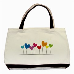 Heart Flowers Twin Sided Black Tote Bag