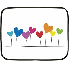 Heart Flowers Mini Fleece Blanket (two Sided)