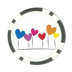 Heart flowers Poker Chip 10 Pack