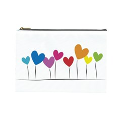 Heart flowers Cosmetic Bag (Large)