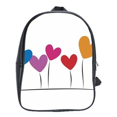Heart flowers School Bag (Large)