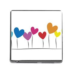 Heart flowers Memory Card Reader with Storage (Square)