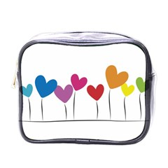Heart flowers Mini Travel Toiletry Bag (One Side)