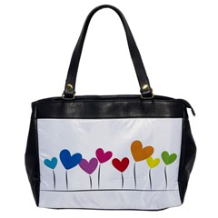 Heart flowers Oversize Office Handbag (One Side)
