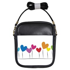 Heart Flowers Girl s Sling Bag