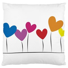 Heart Flowers Large Cushion Case (two Sides)