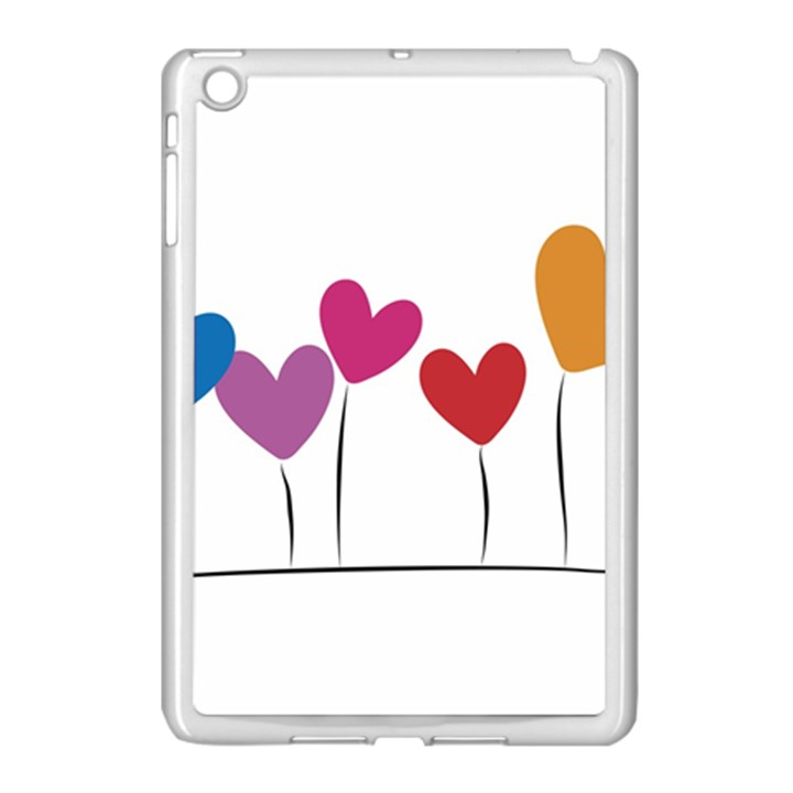 Heart flowers Apple iPad Mini Case (White)
