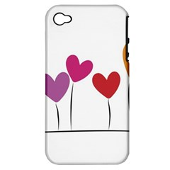 Heart flowers Apple iPhone 4/4S Hardshell Case (PC+Silicone)