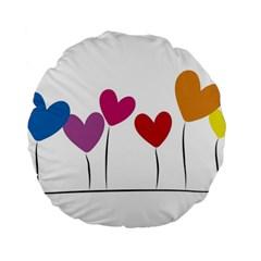 Heart flowers 15  Premium Round Cushion