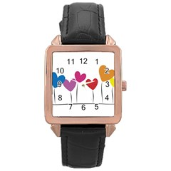 Heart flowers Rose Gold Leather Watch