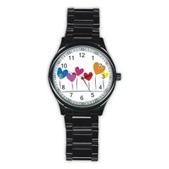 Heart flowers Sport Metal Watch (Black)