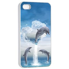 The Heart Of The Dolphins Apple iPhone 4/4s Seamless Case (White)