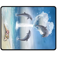 The Heart Of The Dolphins Fleece Blanket (medium)