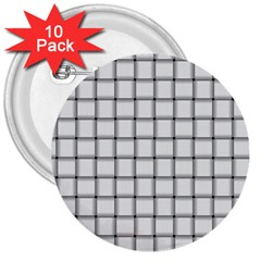 White Weave 3  Button (10 Pack)