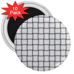 White Weave 3  Button Magnet (10 pack)