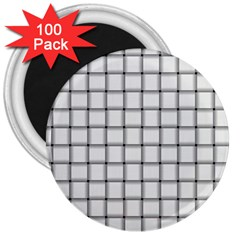 White Weave 3  Button Magnet (100 pack)