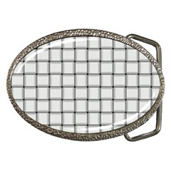 White Weave Belt Buckle (oval)