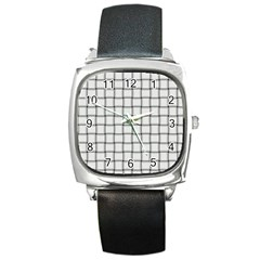 White Weave Square Leather Watch