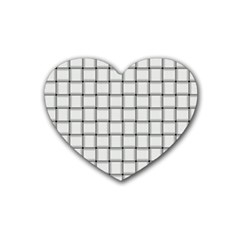 White Weave Drink Coasters 4 Pack (Heart)