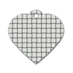 White Weave Dog Tag Heart (One Sided)