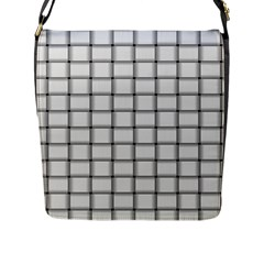 White Weave Flap Closure Messenger Bag (large)