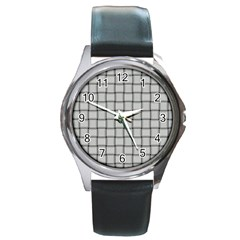 Gray Weave Round Metal Watch (Silver Rim)