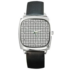 Gray Weave Square Leather Watch