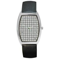 Gray Weave Tonneau Leather Watch