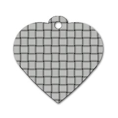 Gray Weave Dog Tag Heart (One Sided)