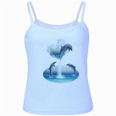 The Heart Of The Dolphins Baby Blue Spaghetti Tank