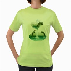 The Heart Of The Dolphins Womens  T-shirt (Green)