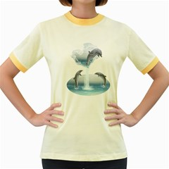 The Heart Of The Dolphins Womens  Ringer T Shirt (colored)
