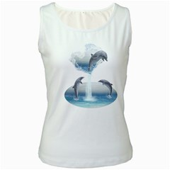 The Heart Of The Dolphins Womens  Tank Top (white)